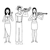Musicista che giocano il violino della tromba e maracas in bianco e nero illustrazione di stock
