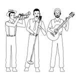 Musicista che giocano la chitarra della tromba e cantare in bianco e nero royalty illustrazione gratis