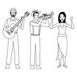Musicista che giocano la tromba della chitarra e ballare in bianco e nero illustrazione vettoriale