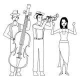 Musicista che giocano tromba bassa e ballare in bianco e nero illustrazione di stock