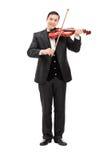 Musicista classico che gioca un violino Fotografia Stock Libera da Diritti