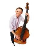 Musicista con il violoncello Fotografie Stock Libere da Diritti