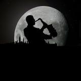 Musicista degli azzurri di jazz a luce della luna Fotografie Stock Libere da Diritti