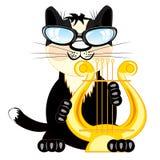 Musicista del gatto con la Lira Fotografia Stock