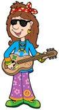 Musicista del hippie del fumetto Immagine Stock