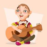 Musicista del ragazzo del bambino, cantante con la chitarra Fotografie Stock