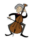 Musicista del violoncellista del fumetto che gioca un violoncello Fotografie Stock