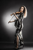 Musicista della donna che gioca violino Immagini Stock Libere da Diritti