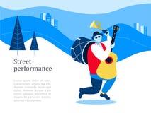 Musicista della via Banda dell'uomo Prestazione della via Illustrati di vettore illustrazione di stock