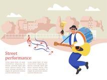 Musicista della via Banda dell'uomo Prestazione della via Illustrati di vettore royalty illustrazione gratis
