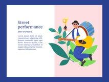 Musicista della via Banda dell'uomo Prestazione della via Illustrati di vettore illustrazione vettoriale