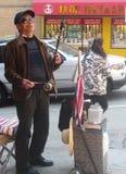 Musicista della via, città della Cina Fotografia Stock