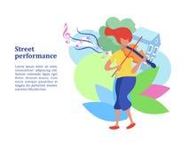 Musicista della via, ragazza del violinista Illustrazione di vettore royalty illustrazione gratis