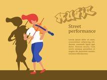 Musicista della via, ragazza del violinista Illustrazione di vettore illustrazione di stock