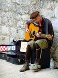 Musicista della via, Ragusa, Croazia Fotografia Stock