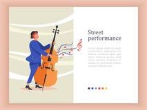 Musicista della via Uomo che gioca il contrabbasso Prestazione della via illustrazione di stock
