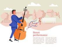 Musicista della via Uomo che gioca il contrabbasso Prestazione della via illustrazione vettoriale