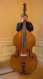 Musicista dietro la sua spigola di corda dritta Fotografia Stock Libera da Diritti