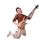 Musicista freddo su bianco Fotografie Stock Libere da Diritti
