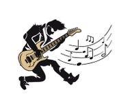 Musicista Player, chitarrista con la chitarra e le note illustrazione di stock