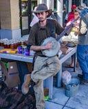 Musicista Playing della via un banjo Immagine Stock Libera da Diritti
