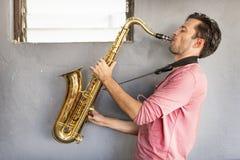 Musicista Saxophone Jazz Artist Passion Concept Fotografia Stock Libera da Diritti