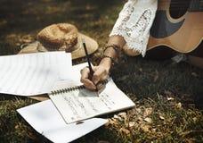 Musicista Song Lifestyle Concept di musica della chitarra fotografia stock