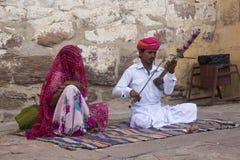Musicisti alla fortificazione di Mehrangarh, Jodhpur, Ragiastan, India Immagini Stock Libere da Diritti