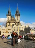 Musicisti ambulanti Praga Città Vecchia, repubblica Ceca Fotografia Stock Libera da Diritti