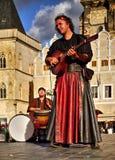 Musicisti ambulanti Praga Città Vecchia, repubblica Ceca Immagine Stock
