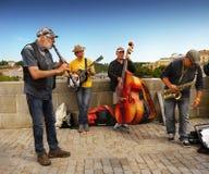 Musicisti ambulanti Praga Città Vecchia, repubblica Ceca Immagine Stock Libera da Diritti