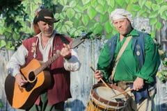 Musicisti che eseguono durante Nottingham fotografia stock