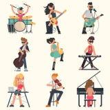 Musicisti con i loro strumenti musicali messi Illustrazioni di vettore di colore illustrazione vettoriale
