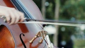 Musicisti della via che giocano nel parco in una grande città stock footage