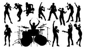 Musicisti di banda della roccia o di schiocco delle siluette royalty illustrazione gratis