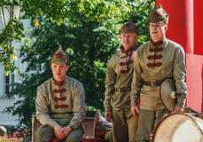 Musicisti di un'orchestra dell'Armata Rossa. Fotografie Stock Libere da Diritti
