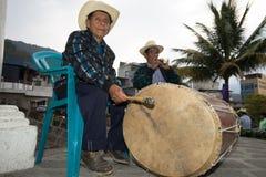 Musicisti maya alla processione di pasqua Immagini Stock