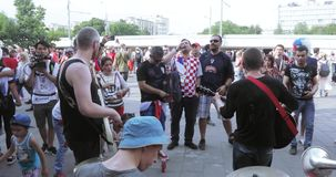 Musicisti prima della partita stock footage