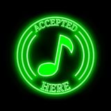 Musicoin MUSIC accepted here sign. Musicoin MUSIC green  neon cryptocurrency symbol in round frame with text `Accepted here Stock Photos