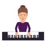 Musicus achter een grote piano een illustratie vlakke stijl royalty-vrije illustratie