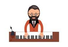 Musicus achter een grote piano een vectorillustratie vlakke stijl royalty-vrije illustratie