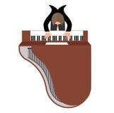 Musicus achter een grote piano hoogste mening een vlakke stijl stock illustratie