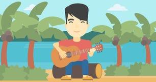 Musicus die akoestische gitaar speelt vector illustratie