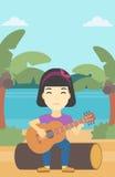 Musicus die akoestische gitaar speelt stock illustratie