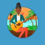 Musicus die akoestische gitaar speelt royalty-vrije illustratie