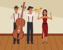 Musicus die bastrompet en het dansen spelen stock illustratie