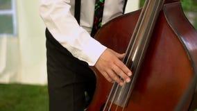 Musicus die dubbele baarzen spelen stock videobeelden