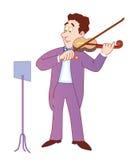 Musicus die een viool speelt stock illustratie