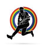 Musicus die elektrische gitaar, grafische Muziekband spelen vector illustratie