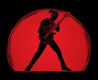 Musicus die elektrische gitaar, Muziekband spelen stock illustratie